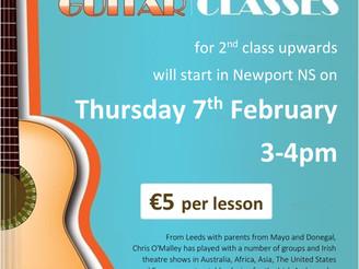 Guitar lessons start 7 Feb
