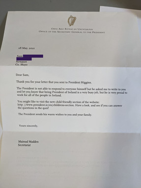 A letter from President Higgins!