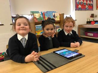 Junior Infants love their iPads!