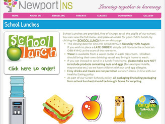 Lunch Orders for next term