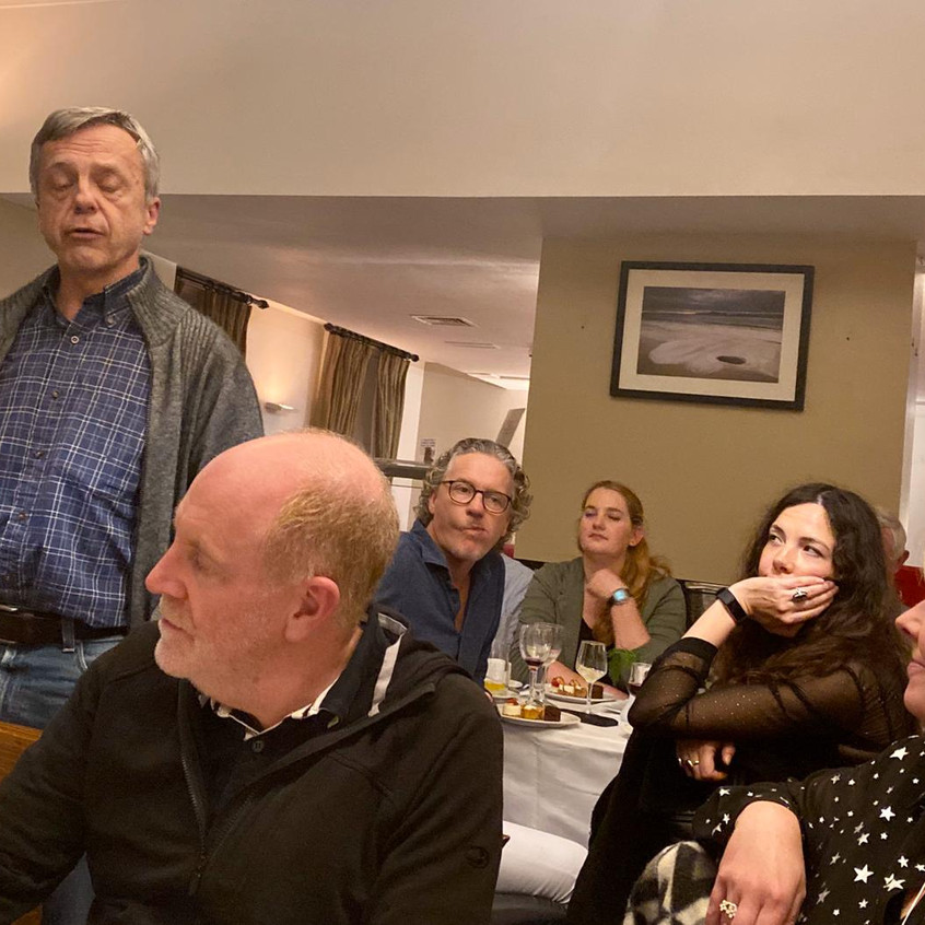 Bob at dinner with Mark McCaughrean