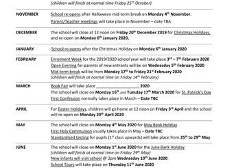 School Calendar 2019/20