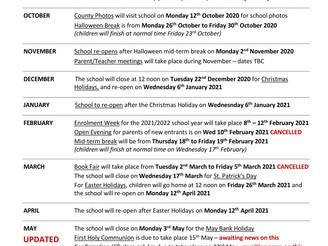 Change to School Calendar