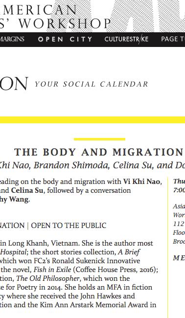 THE BODY AND MIGRATION with Vi Khi Nao, Brandon Shimoda, Celina Su, and Dorothy Wang