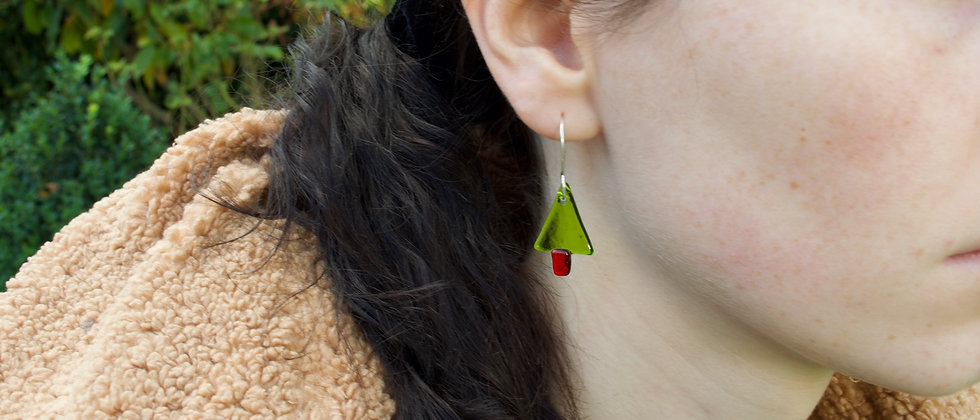 Glass Christmas Tree Earrings
