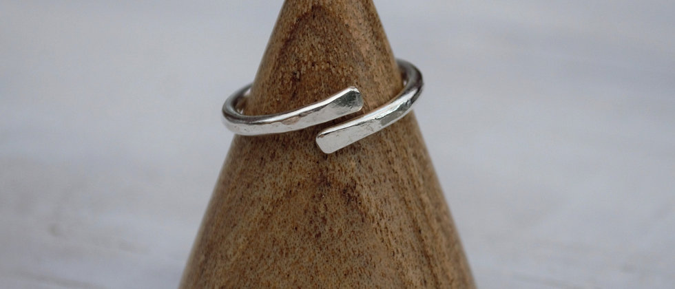 silver wrap over ring on ring cone