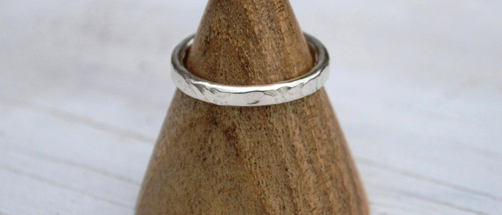 sustainable  eco silver ring on ring cone, eco silver ring, hammered silver ring