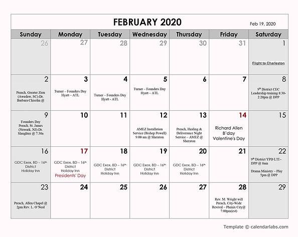 *Bishop HLS 2020 calendar  - Feb 24 2020