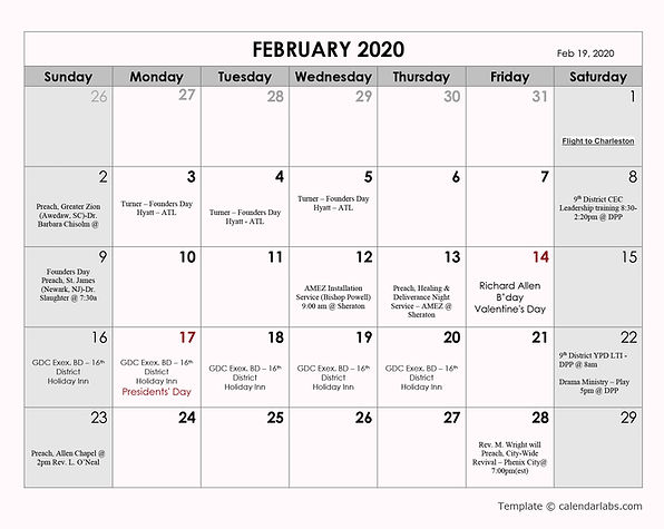 *Bishop HLS 2020 calendar  - Feb 24 2020