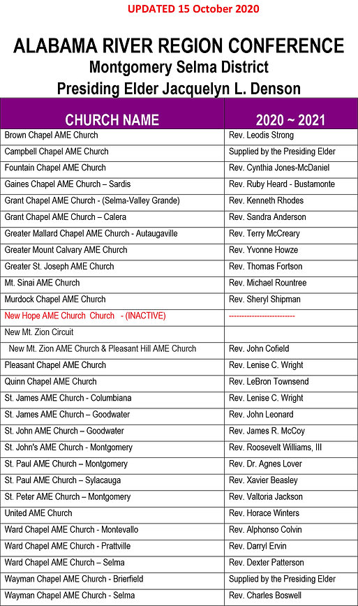 2020 - 2021 Pastoral Assignments - Oct 1