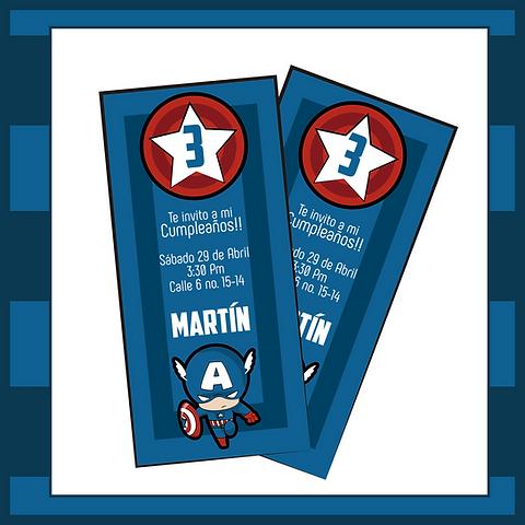Kit Capitán América Tarjetas Invitación