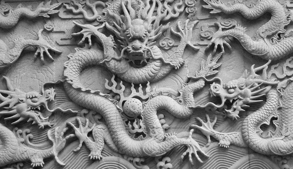 A wall with dragon stone sculpture in fayu temple in mount putuo zhoushan city zhejiang pr
