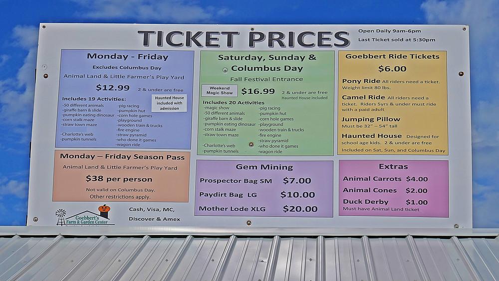 Ticket Prices at Goebbert's Farm in South Barrington, Illinois (2020)