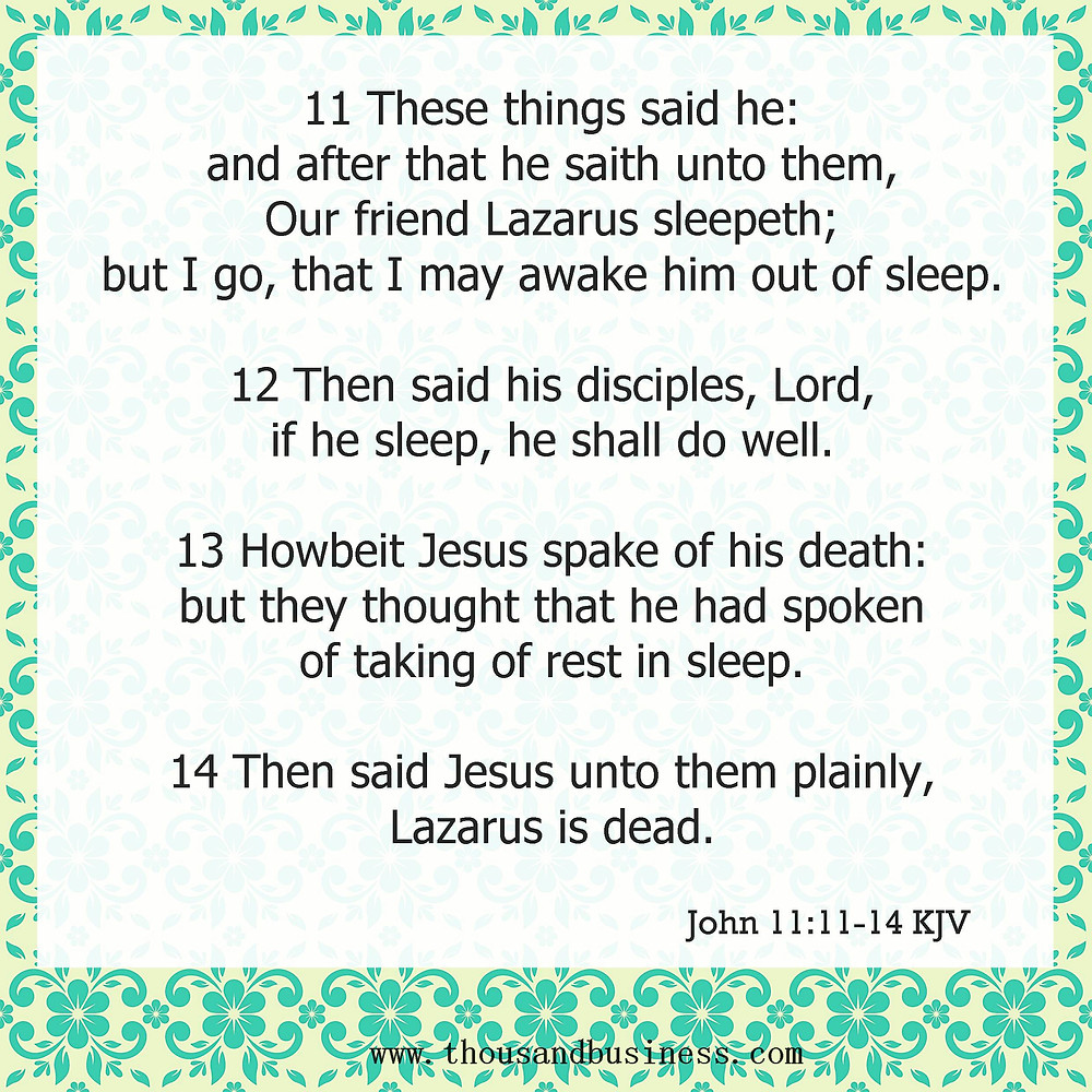 These things said he: and after that he saith unto them, Our friend Lazarus sleepeth; but I go, that I may awake him out of sleep.  12Then said his disciples, Lord, if he sleep, he shall do well.  13Howbeit Jesus spake of his death: but they thought that he had spoken of taking of rest in sleep.  14Then said Jesus unto them plainly, Lazarus is dead.
