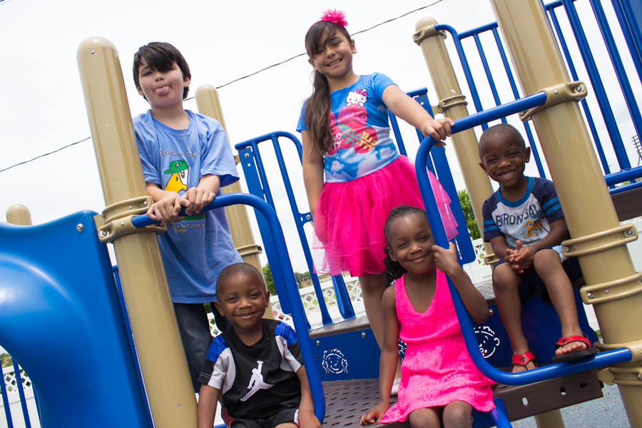Hope Center guests in the playground