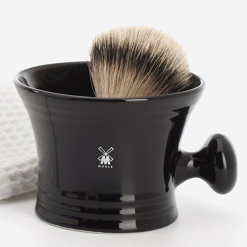 MÜHLE Rasiertiegel, Porzellan schwarz