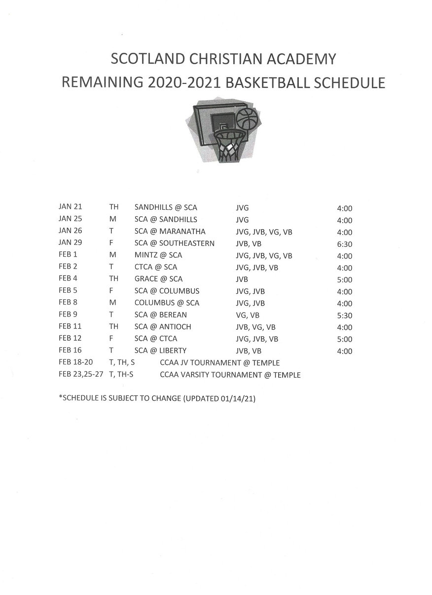 Remaining 2020-2021 Basketball Schedule.