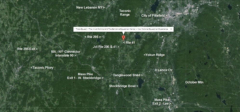 Close to the Action.  Google Earth Map of TIARA EQUEST w/r/t Highways, Towns, NY State Line