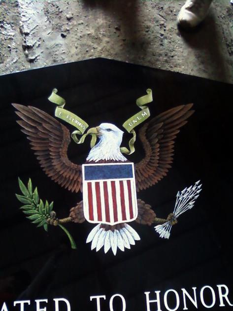 Color hand etched Eagle Emblem