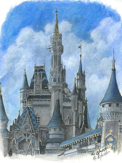 """8.5 x 11 """"The Happiest Place"""" Cinderella Castle commission - Acrylic"""