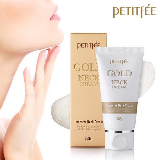 Антивозрастной крем для шеи с частицами золота Petitfee Gold Neck Cream 50ml