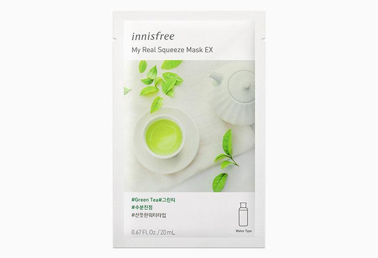 Маска для лица успокайвающая с зеленым чаем Innisfree My Real Squeeze Mask