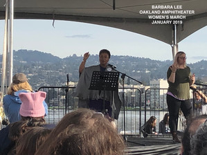 Barbara Lee speaking at Women's March 2019