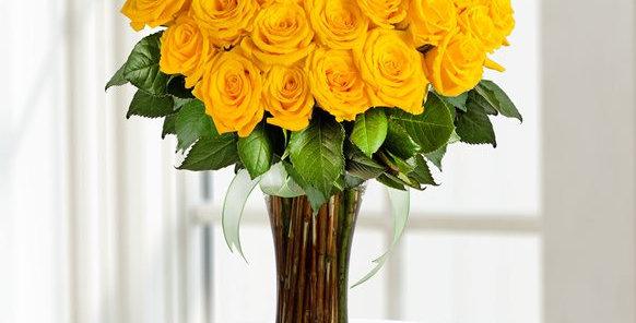 41 li Sarı Gül Uzun Cam Vazoda