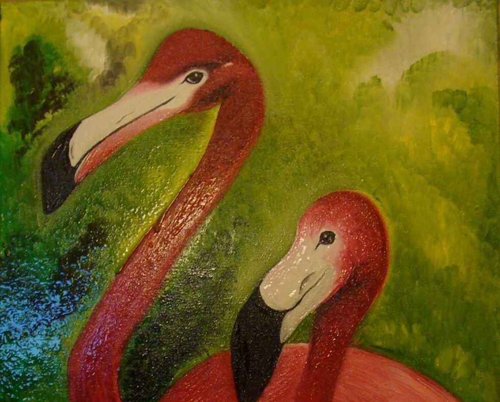 Flamingos Oil Painting. TN. USA.