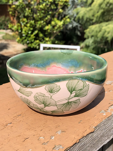 Pink Porcelain Bowl with Green Ginkgo Leaves