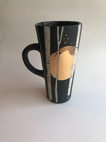 Tall Harvest Moon Aspen Mug w/ Real Gold Details-Made to order (allow 2-3 weeks)