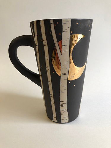 Crescent Moon Aspen Mug w/ Real Gold - Custom made - (2-3 weeks processing)