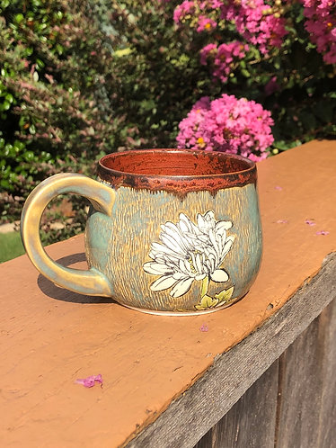 Daisy Mug w/ Ancient Copper & Textured Turquoise