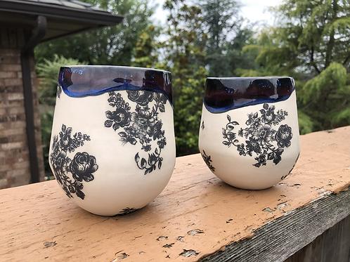 2 Black & White Flower Cups