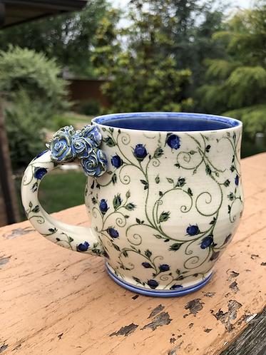 Fancy Blue Rose Mug