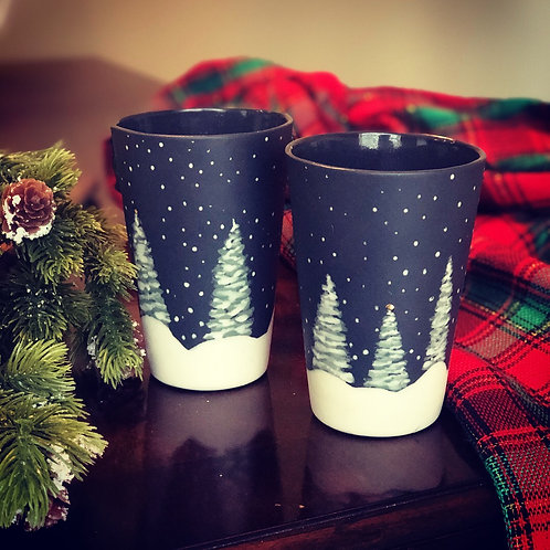 Snowy Night Porcelain Cups - made to order (approx. 2 weeks to process)