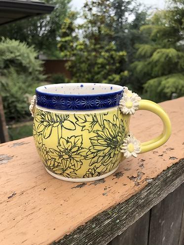 Fancy Yellow & Blue Daisy Mug