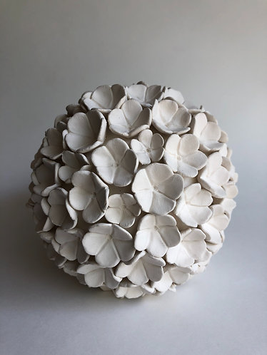 "~ 6"" Porcelain Flower Sphere - made to order (allow 2-3 weeks)"