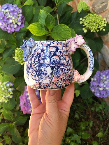 Custom order - Fancy Porcelain Hydrangea Mug (approx. 3 weeks processing time)