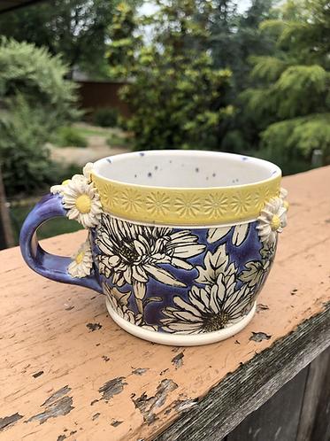 Fancy Purple & Yellow Daisy Mug