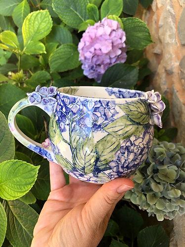 Large Fancy Porcelain Hydrangea Mug