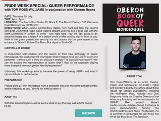 Pride Week Special: Queer Performance Workshop with The Monobox & Oberon