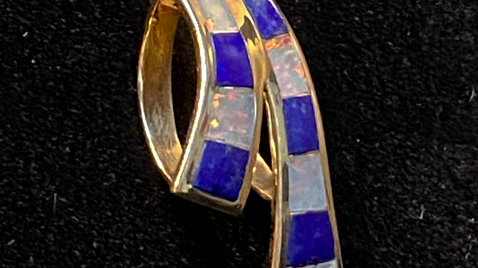 14K Fire Opal and Lapis Lazuli Gold Pendant