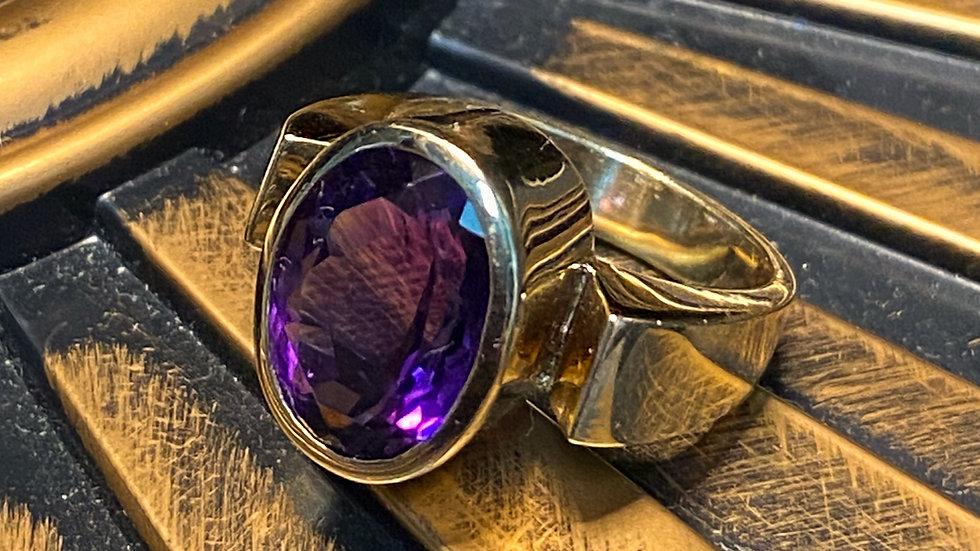 14K Amethyst Diamond Ring