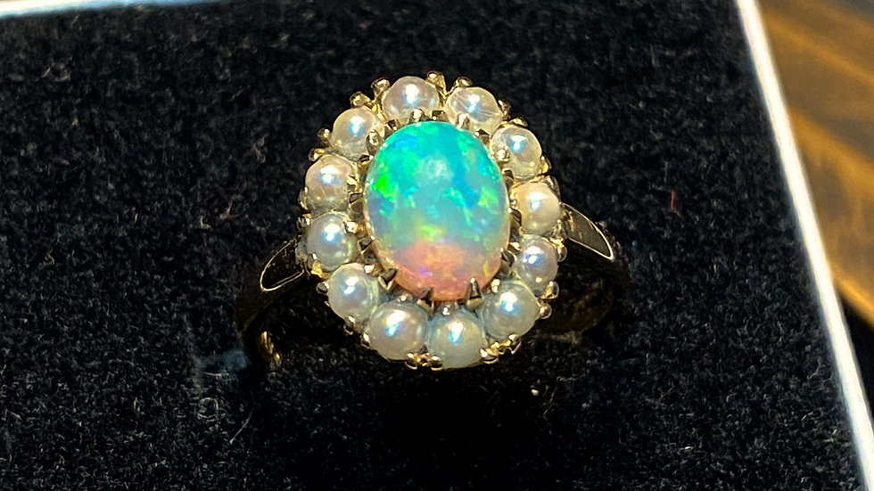 10K Opal & Seed Pearl Gold Ring