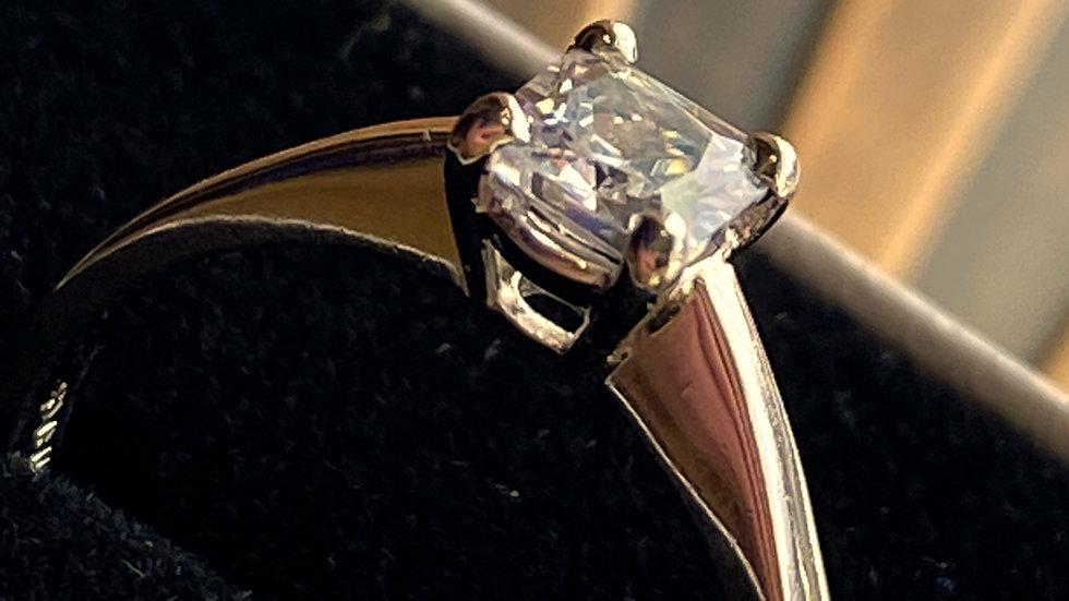 22K Platinum Princess-Cut Diamond Ring