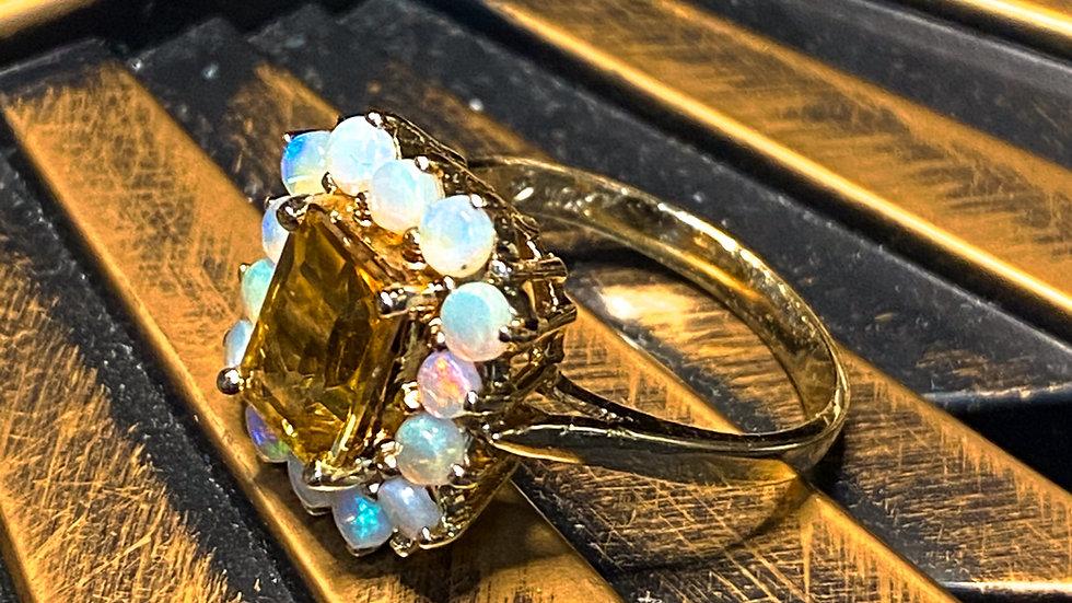 10K Citrine Opal Gold Ring