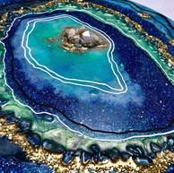 """Jamaican Waters _ 14"""" diameter wooden ci"""