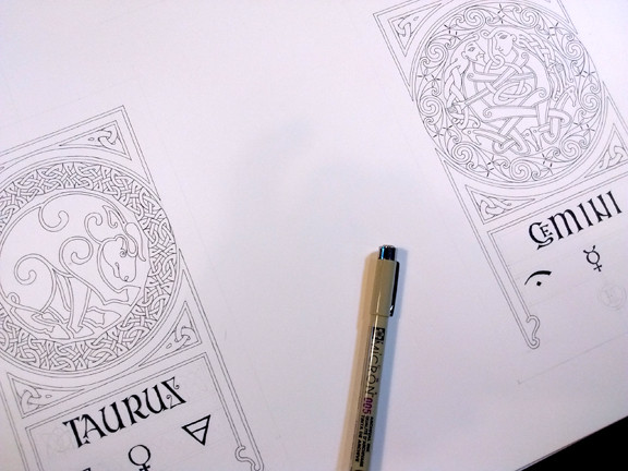 Taurus and Gemini. The calligraphy is done with a straight-cut Brause nib and Calli ink. The line-work is with a Micron 005 marker.