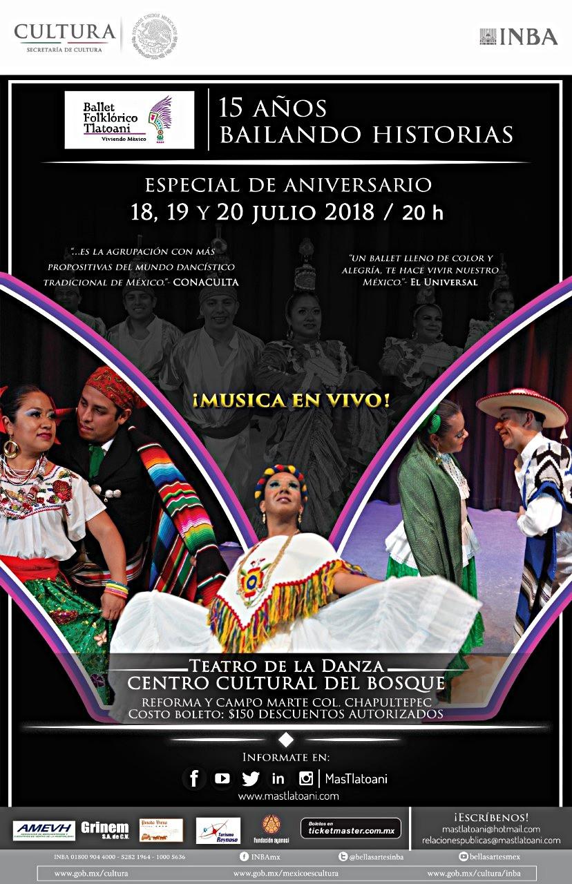 Cartel oficial de la temporada de danza del Ballet Folklórico Tlatoani y su montaje escénico: 15 años bailando historias.